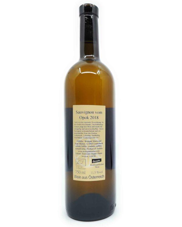 Muster Sauvignon Blanc Opok back label