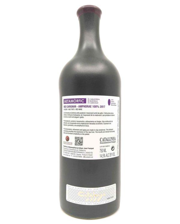 Costador Metamorfic Carignan back label